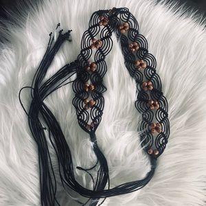 Accessories - Black beaded woven sash belt
